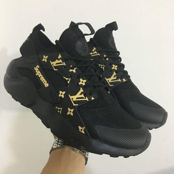 Best Online Sale LV x Supreme x Nike Air Huarache 4 Black Men Women Mesh Hurache Sport