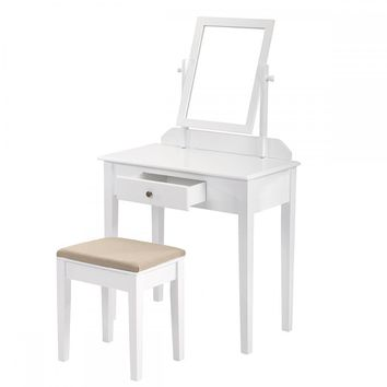 White Make Up Vanity table Wood Jewelry Dressing Table With Stool Mirror 2850