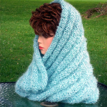 Knit Cowl Oversized Green