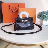 """Hermès"" All-match Fashion Crocodile Pattern Single Shoulder Messenger Bag  Women Mini Handbag"