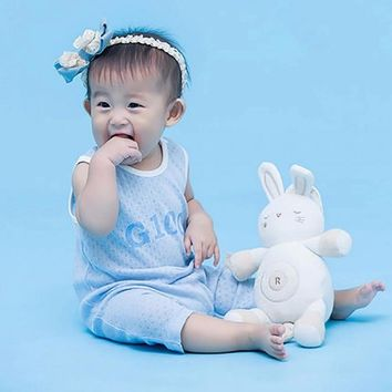 G100 GMS7205 Summer Mesh Breathable Baby Jumpsuit Infant Clothes Bamboo Fiber Cotton Baby Sleeveless Romper Beige/3M