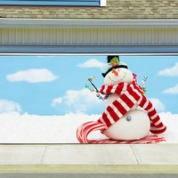Christmas Garage Door Cover Banners 3d Snowman Holiday Outside Decorations Outdoor Decor for Garage Door G53