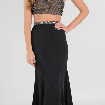Black Two-Piece Long Prom Dress Halter Jeweled Bodice Cut-Out Back