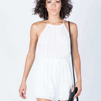 Embroidered Lines Romper