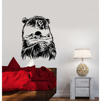 Vinyl Wall Decal Mountain Landscape Abstract Bear Wild Nature Stickers (3943ig)