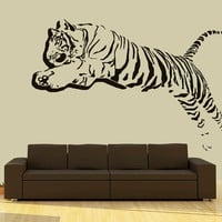 Wall Decal Vinyl Sticker Decals Art Decor Design 3D Tiger Lion Leopard Panter Animals Jumping Nature Wild Cat Fashion Bedroom Dorm (r709)