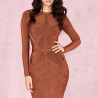 Clothing : Bandage Dresses : 'Calliope' Rust Weave Detail Bandage Dress