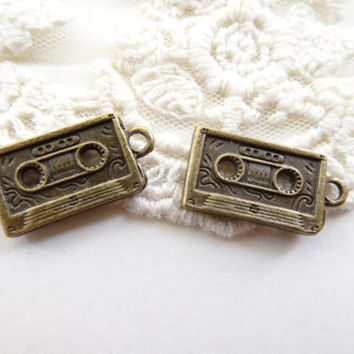 Set of 8 Cassette Tape Charms Antique Bronze Vintage Style Compact Cassette Tape Charms old school music charms