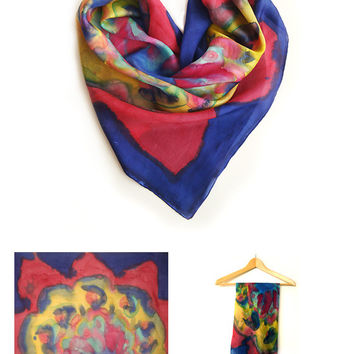 Vintage hand painted silk scarf , abstract silk scarf , silk square scarf , blue and burgundy batik , valentine gift .