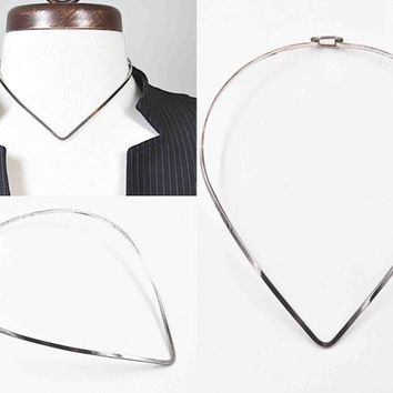 Vintage Taxco Sterling Silver Collar Necklace, V Shaped, Mexico, Torc, Torque, Rigid Collar, Hook & Eye Clasp, Modernist #c587