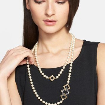 St. John Collection Two-Tone Station Faux Pearl Double Strand Necklace | Nordstrom