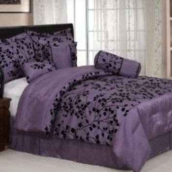 Chezmoi Collection 7-Piece Floral Flocking Comforter/Bed in a Bag Set, Full/Double, Purple/Black