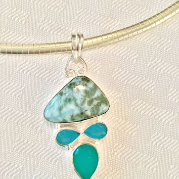 Larimar and Chalcedony sterling silver pendant