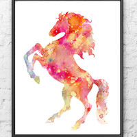 Horse Art Print Watercolor Painting - Home Wall Decor