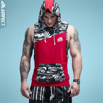 Aimpact Men's Camouflage Patchwork Tank Top Sleeveless Hoodie Crossfit Bodybuilding Workout Fitness Muscle Cut Male Tank AM1010