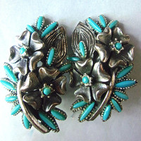 Silver Tone Floral Turquoise Earrings, Southwestern, Large Cluster, Vintage
