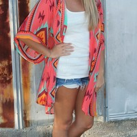 Bangles Boutique — Orange Aztec Print Hi-Lo Cardigan