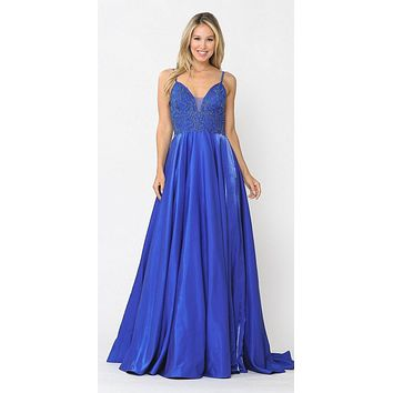 Beaded Long Prom Dress with Pockets Royal Blue