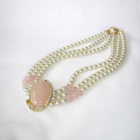 Vintage Pearl Beads Soft Pink Oval Cabochon Rhinestones Necklace