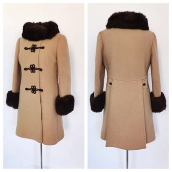 Vintage 1960s Jackie Stuart Russian Princess Coat Tan Wool Brown Fur Trim Outerwear 60s Winter Coat Hollywood Glamour Mad Men Size Small