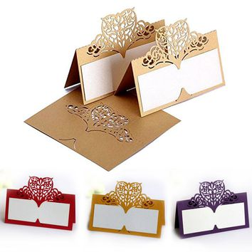 Laser Cut Wedding Hollow Love Heart Paper Vine Seat Card Name Place Cards