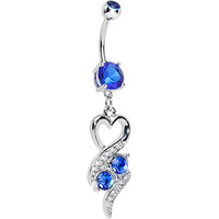 Sapphire Blue Double Gem Heart Ribbons Belly Ring | Body Candy Body Jewelry