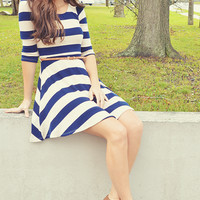Sailing The Open Sea Dress: Navy Blue