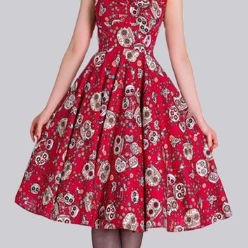 Red Skull Print Cap Sleeve High Waisted Vintage Tutu Halloween Party Midi Dress