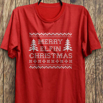 Merry Elfin Christmas (WHITE)-Funny Xmas t-shirt,Ugly Christmas Party, Black Friday, Christmas Blowout Clearance Sale
