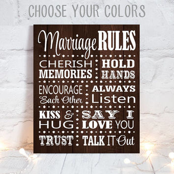 MARRIAGE RULES Sign - Wedding Artwork- Canvas or Print- Marriage Rules - Wedding Vows - Wedding Sign - Wedding Wood Quote - Single 1