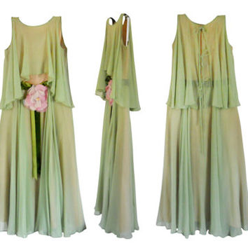Bohemian Prom Dress Boho Prom Dress 70s Prom Dress 1970s Dress Long Green Prom Dress Spring Dress Women Dressy Dress Moss Green Dress Summer