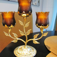 vintage brass candlelabra with amber tulip votive holders