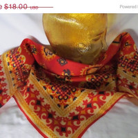 Warm Fall Colors Vintage Silk Scarf Orange Yellow and Navy Blue Scarf Mid Century Mod