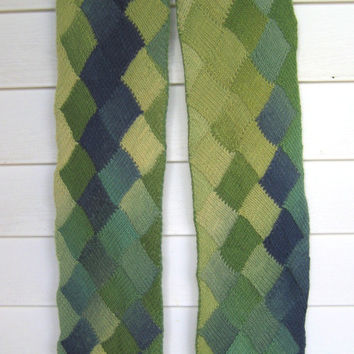 Entrelac scarf , Knitted wool scarf , Green and blue scarf