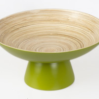 Coiled bamboo round high-footed serving bowls, kiwi