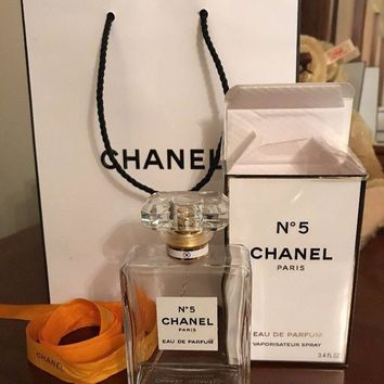 Empty Chanel no 5 perfume bottle (100ml)with box, Ribbon & Bag