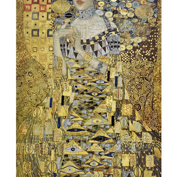 Austria Gustav Klimt - Adele Extra large art tapestry wall hanging Spun gold  woven and handmade  jacquard Decorative textile