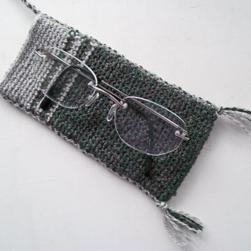 Glasses Case with Neckstrap, Spectacles Pouch with Neck Strap, Green  Eyeglass Case with Neckstrap, Handspun Crochet Pouch with Neckstrap