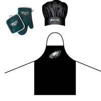 """Philadelphia Eagles NFL Barbeque Apron , Chef's Hat and Pot Holder Deluxe Set"""