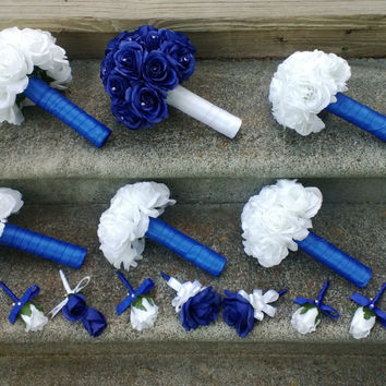 Royal Blue Rose Bouquet, Royal Blue Bouquet, White Rose Bouquet, Royal Blue White Bouquet, Royal Blue White Wedding, Horizon Blue Bouquet