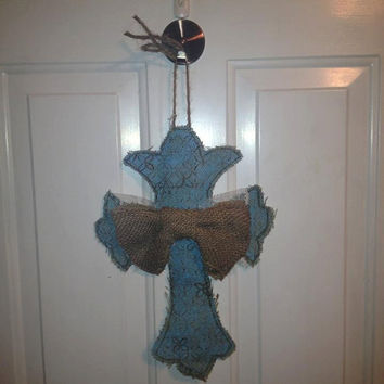 Burlap Cross Door Hanger with Burlap and Lace Ribbon