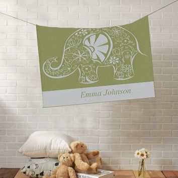 Knit Baby Blanket | Fancy Elephant | Custom Name Stroller Blanket | Boy or Girl | 100% Cashwool