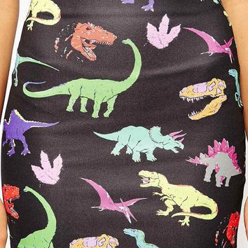 O'Mighty Mini Bodycon Skirt With Dinosaur Print Co-Ord