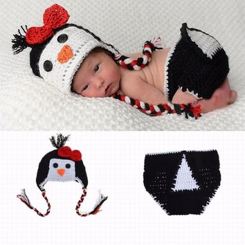 Cartoon Infant Newborn Crochet Handmade Conjoined Cap Penguin Photography Costume Baby Suit Hat Pants Set