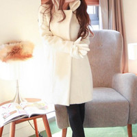 White Long Sleeve Wool Coat