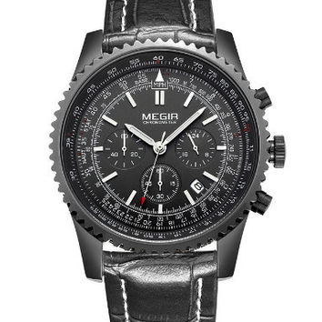 Megir Quartz Tachymeter (Black Case)