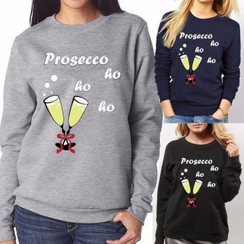 2016 New Womens Christmas Jumper Prosecco ho ho ho  Novelty New Ladies Xmas Sweatshirts