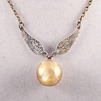 Golden Winged Orb Locket Necklace