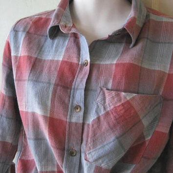 Classic '70s Flannel Shirt in Red/Grey/Light Blue Plaid; Women's Small, Casual Plaid Cotton Long-Sleeve Shirt; U.S. Shipping Included