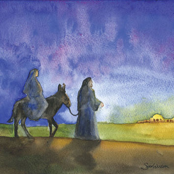 Bethlehem Christmas Cards Watercolor Painting Set of 10